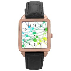 Network Connection Structure Knot Rose Gold Leather Watch  by Onesevenart