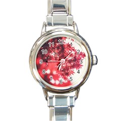 Maple Leaves Red Autumn Fall Round Italian Charm Watch by Onesevenart