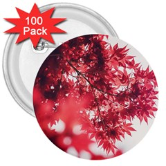 Maple Leaves Red Autumn Fall 3  Buttons (100 Pack)  by Onesevenart