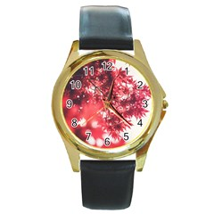 Maple Leaves Red Autumn Fall Round Gold Metal Watch by Onesevenart