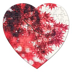 Maple Leaves Red Autumn Fall Jigsaw Puzzle (heart) by Onesevenart