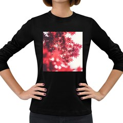 Maple Leaves Red Autumn Fall Women s Long Sleeve Dark T Shirts by Onesevenart