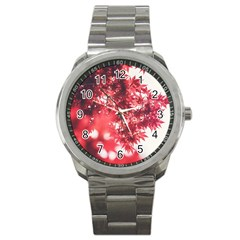 Maple Leaves Red Autumn Fall Sport Metal Watch by Onesevenart