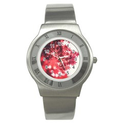 Maple Leaves Red Autumn Fall Stainless Steel Watch by Onesevenart