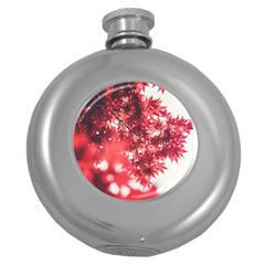 Maple Leaves Red Autumn Fall Round Hip Flask (5 Oz) by Onesevenart