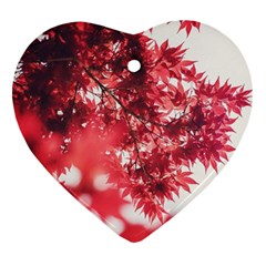 Maple Leaves Red Autumn Fall Heart Ornament (two Sides) by Onesevenart