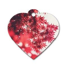 Maple Leaves Red Autumn Fall Dog Tag Heart (one Side) by Onesevenart
