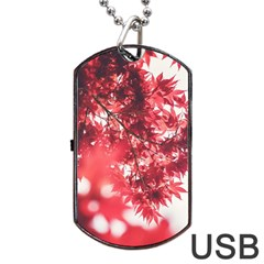 Maple Leaves Red Autumn Fall Dog Tag Usb Flash (two Sides) by Onesevenart
