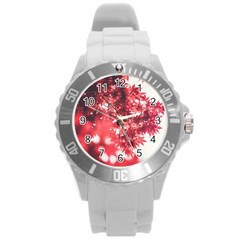 Maple Leaves Red Autumn Fall Round Plastic Sport Watch (l) by Onesevenart