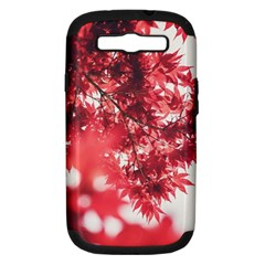 Maple Leaves Red Autumn Fall Samsung Galaxy S Iii Hardshell Case (pc+silicone) by Onesevenart