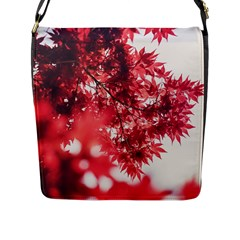 Maple Leaves Red Autumn Fall Flap Messenger Bag (l)  by Onesevenart