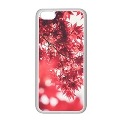 Maple Leaves Red Autumn Fall Apple Iphone 5c Seamless Case (white) by Onesevenart