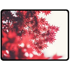 Maple Leaves Red Autumn Fall Double Sided Fleece Blanket (large)  by Onesevenart