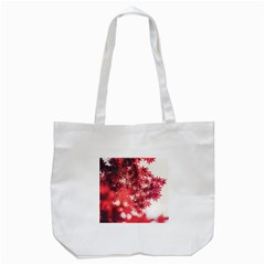 Maple Leaves Red Autumn Fall Tote Bag (white) by Onesevenart