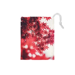 Maple Leaves Red Autumn Fall Drawstring Pouches (small)  by Onesevenart