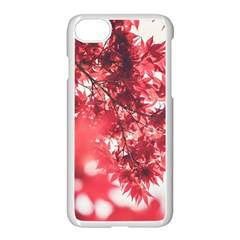 Maple Leaves Red Autumn Fall Apple Iphone 7 Seamless Case (white) by Onesevenart