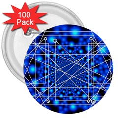 Network Connection Structure Knot 3  Buttons (100 Pack)  by Onesevenart