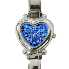 Network Connection Structure Knot Heart Italian Charm Watch by Onesevenart