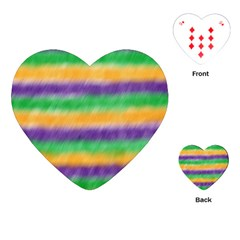 Mardi Gras Strip Tie Die Playing Cards (heart)  by PhotoNOLA