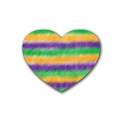 Mardi Gras Strip Tie Die Rubber Coaster (heart)  by PhotoNOLA