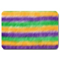 Mardi Gras Strip Tie Die Large Doormat  by PhotoNOLA