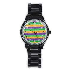 Mardi Gras Strip Tie Die Stainless Steel Round Watch by PhotoNOLA
