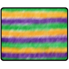 Mardi Gras Strip Tie Die Double Sided Fleece Blanket (medium)  by PhotoNOLA
