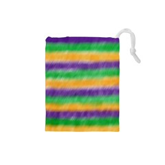 Mardi Gras Strip Tie Die Drawstring Pouches (small)  by PhotoNOLA