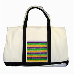 Mardi Gras Strip Tie Die Two Tone Tote Bag by PhotoNOLA