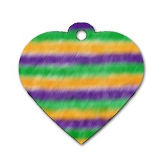 Mardi Gras Strip Tie Die Dog Tag Heart (one Side) by PhotoNOLA