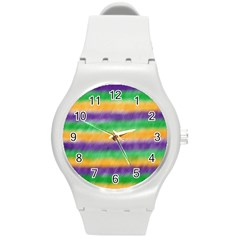 Mardi Gras Strip Tie Die Round Plastic Sport Watch (m) by PhotoNOLA