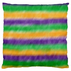 Mardi Gras Strip Tie Die Large Cushion Case (two Sides) by PhotoNOLA