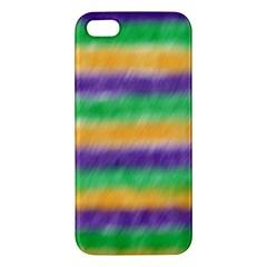 Mardi Gras Strip Tie Die Apple Iphone 5 Premium Hardshell Case by PhotoNOLA