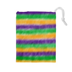 Mardi Gras Strip Tie Die Drawstring Pouches (large)  by PhotoNOLA