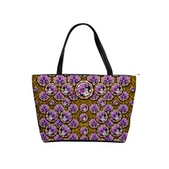 Gold Plates With Magic Flowers Raining Down Shoulder Handbags by pepitasart