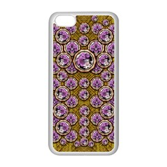 Gold Plates With Magic Flowers Raining Down Apple Iphone 5c Seamless Case (white) by pepitasart