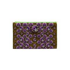 Gold Plates With Magic Flowers Raining Down Cosmetic Bag (xs) by pepitasart