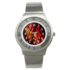 Fractal Mathematics Abstract Stainless Steel Watch by Onesevenart