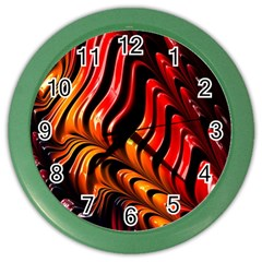 Fractal Mathematics Abstract Color Wall Clocks by Onesevenart