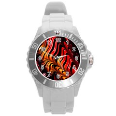Fractal Mathematics Abstract Round Plastic Sport Watch (l) by Onesevenart