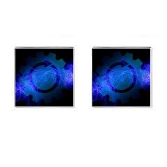 Particles Gear Circuit District Cufflinks (square) by Onesevenart
