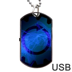 Particles Gear Circuit District Dog Tag Usb Flash (one Side) by Onesevenart