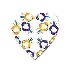 Pattern Circular Birds Heart Magnet by Onesevenart