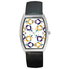Pattern Circular Birds Barrel Style Metal Watch by Onesevenart