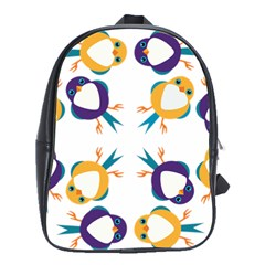 Pattern Circular Birds School Bags(large)  by Onesevenart
