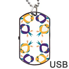 Pattern Circular Birds Dog Tag Usb Flash (two Sides) by Onesevenart