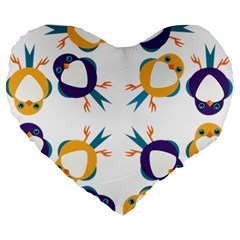 Pattern Circular Birds Large 19  Premium Heart Shape Cushions by Onesevenart