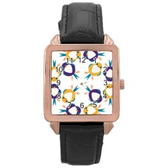 Pattern Circular Birds Rose Gold Leather Watch  by Onesevenart