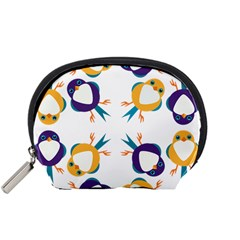 Pattern Circular Birds Accessory Pouches (small)  by Onesevenart