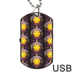 Pattern Background Yellow Bright Dog Tag Usb Flash (two Sides) by Onesevenart